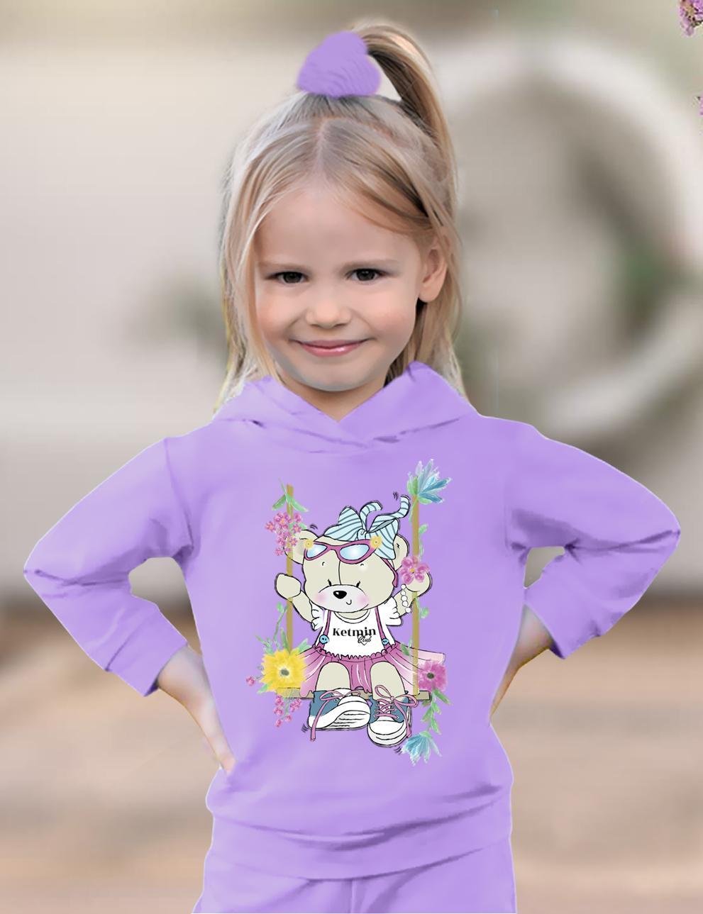 Толстовка детская с капюшоном KETMIN Мишка Нежность цв.Сиреневый