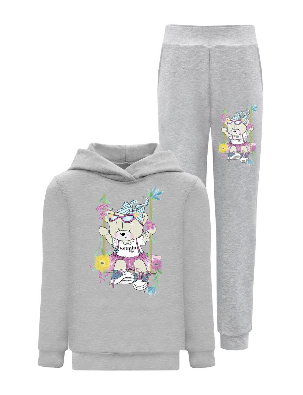 Толстовка детская с капюшоном KETMIN Мишка Нежность цв.Серый меланж