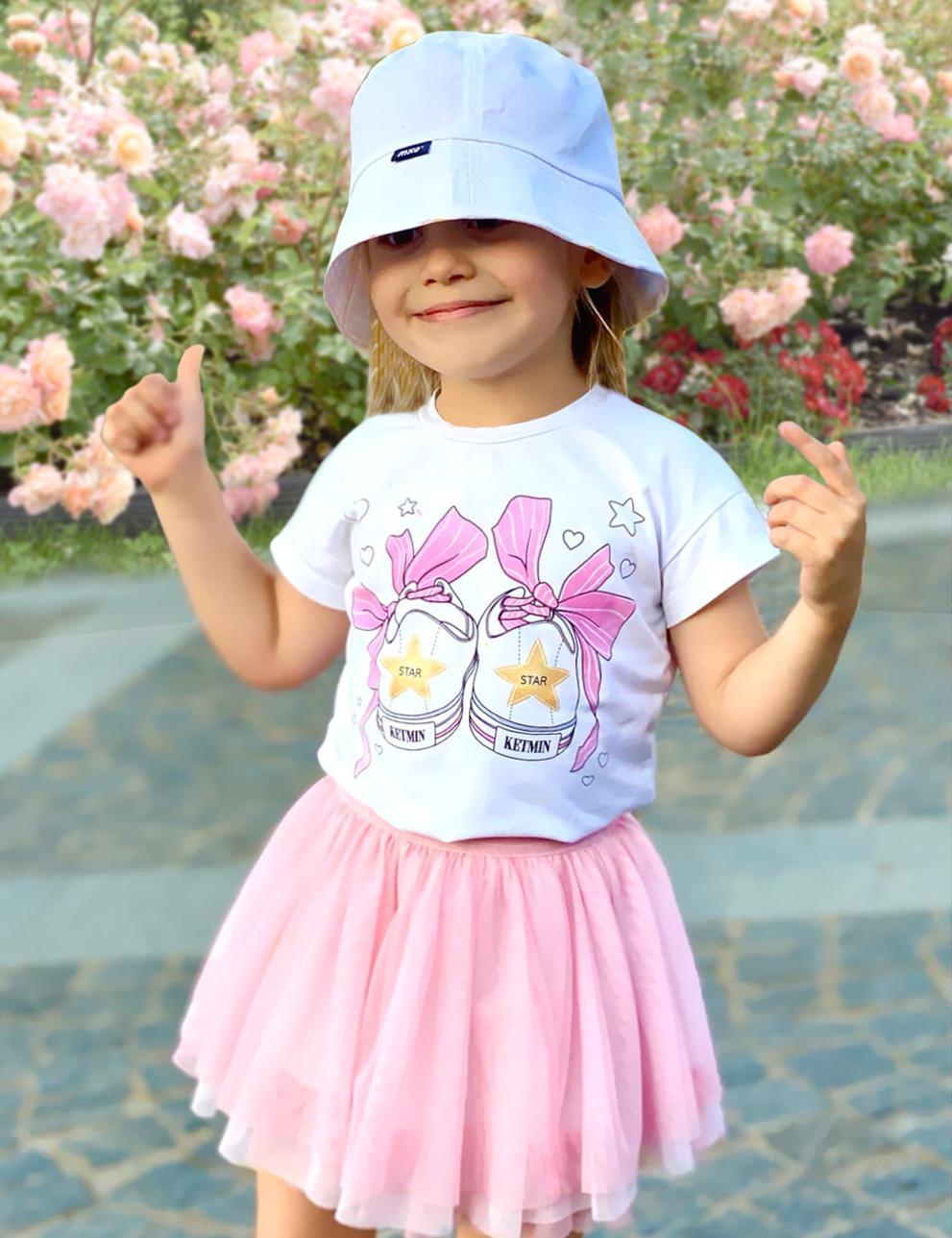 Детская футболка для девочки KETMIN Кеды цв.Белый/розовый