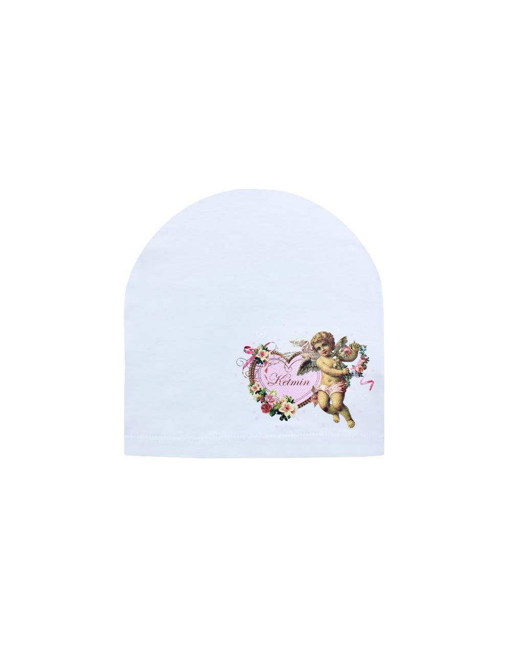 Шапка детская трикотажная KETMIN тк.Кулирка цв.Белый с принтом Ангел