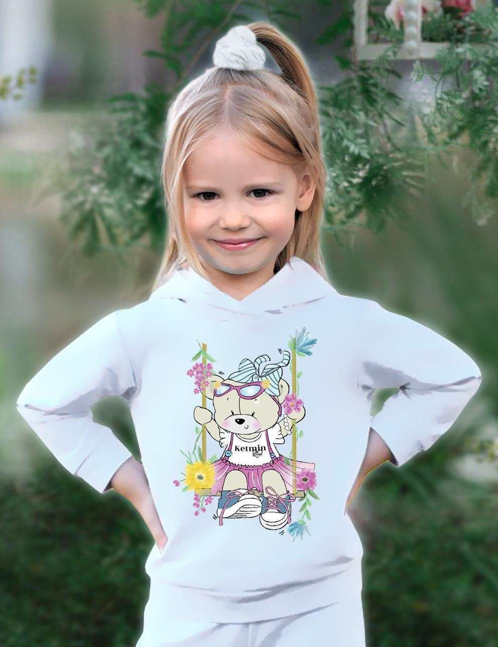 Толстовка детская с капюшоном KETMIN Мишка Нежность цв.Белый