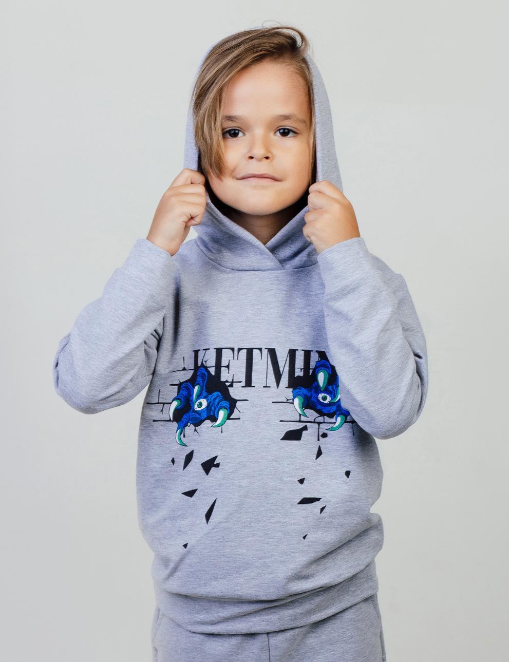 Детское худи с капюшоном KETMIN Когти цв.Серый меланж