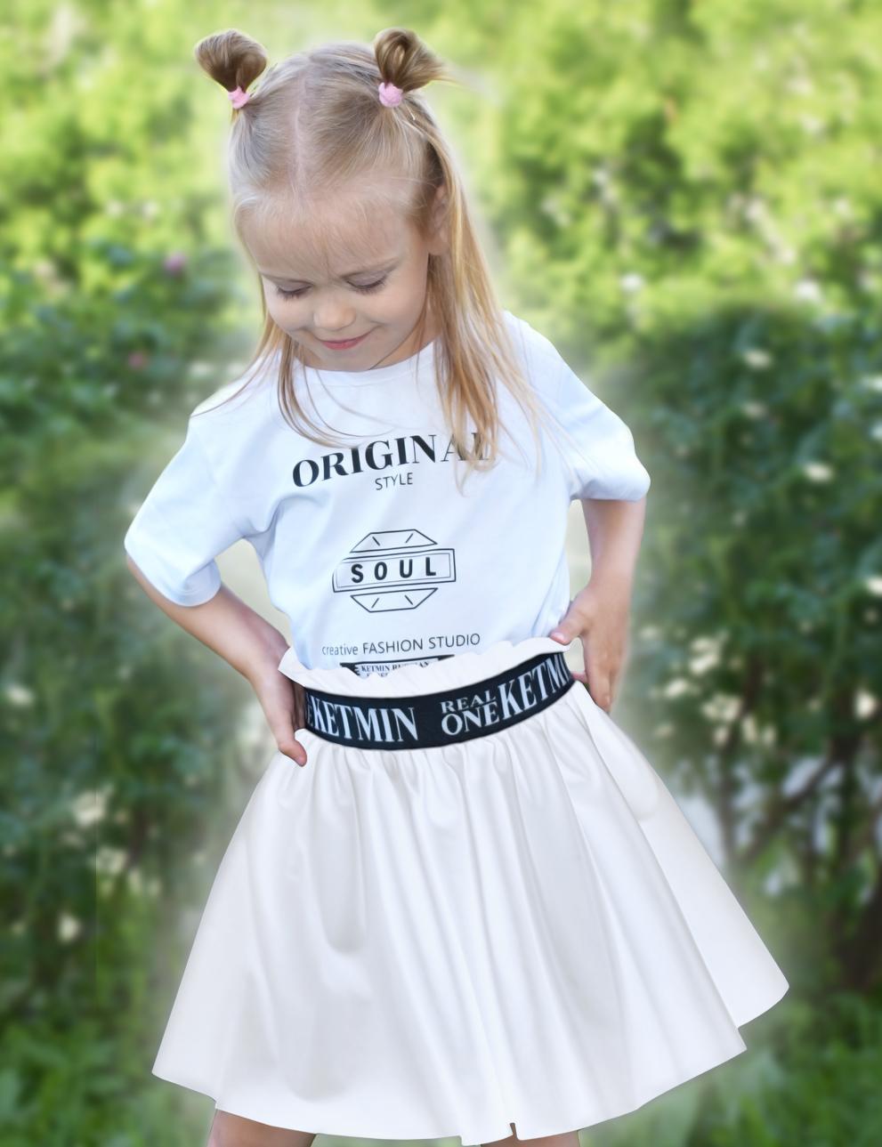 Юбка для девочки Real One KETMIN Эко кожа цв.Белый