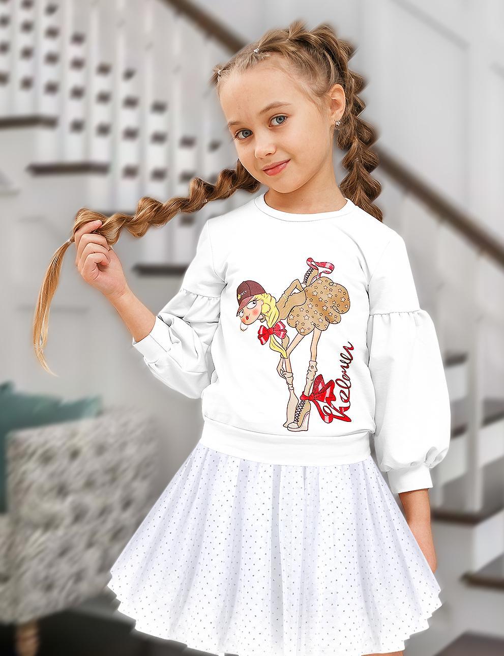 Толстовка детская для девочки KETMIN Модница цв.Белый