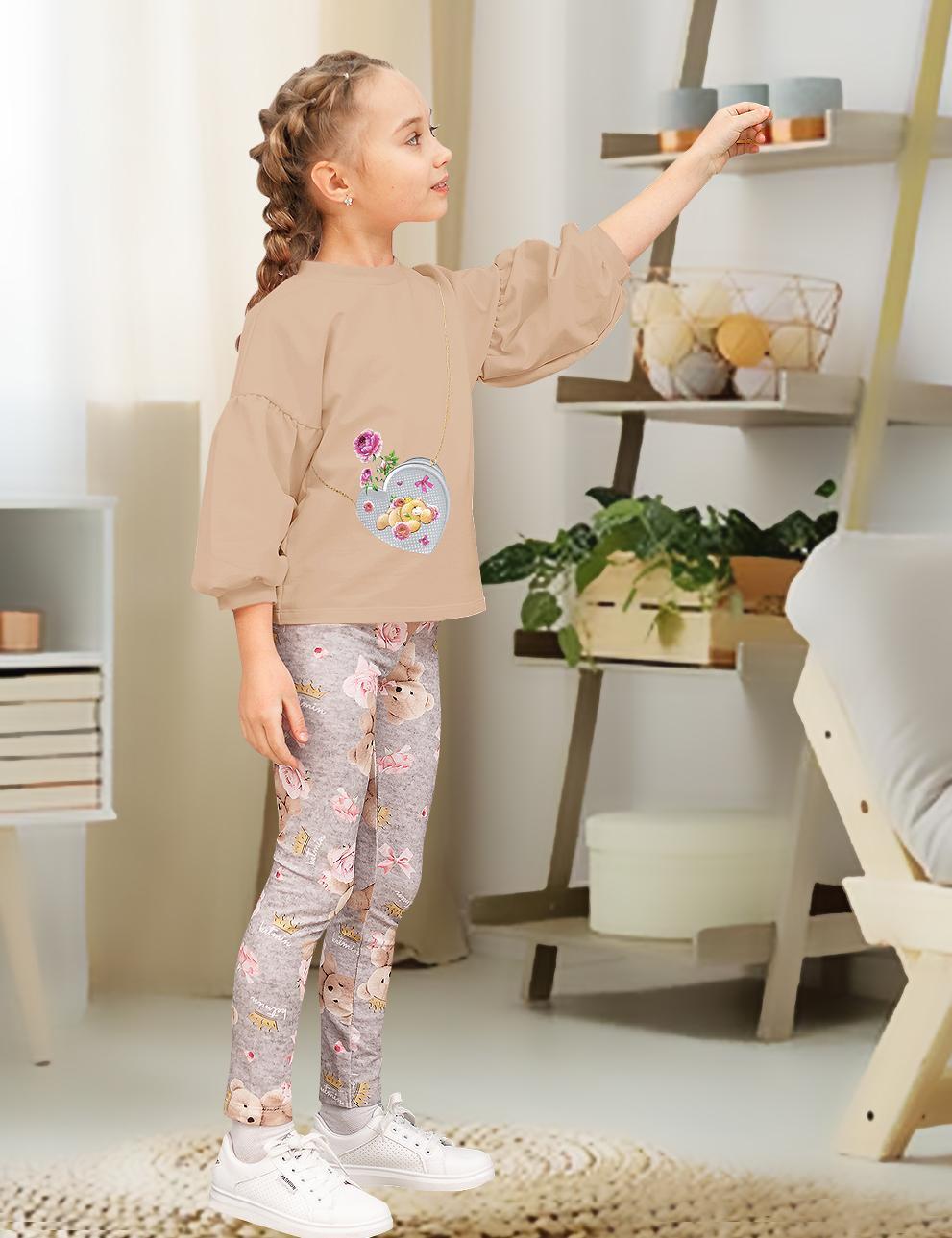 Детский костюм для девочки KETMIN Мишка с сумочкой цв.Бежевый