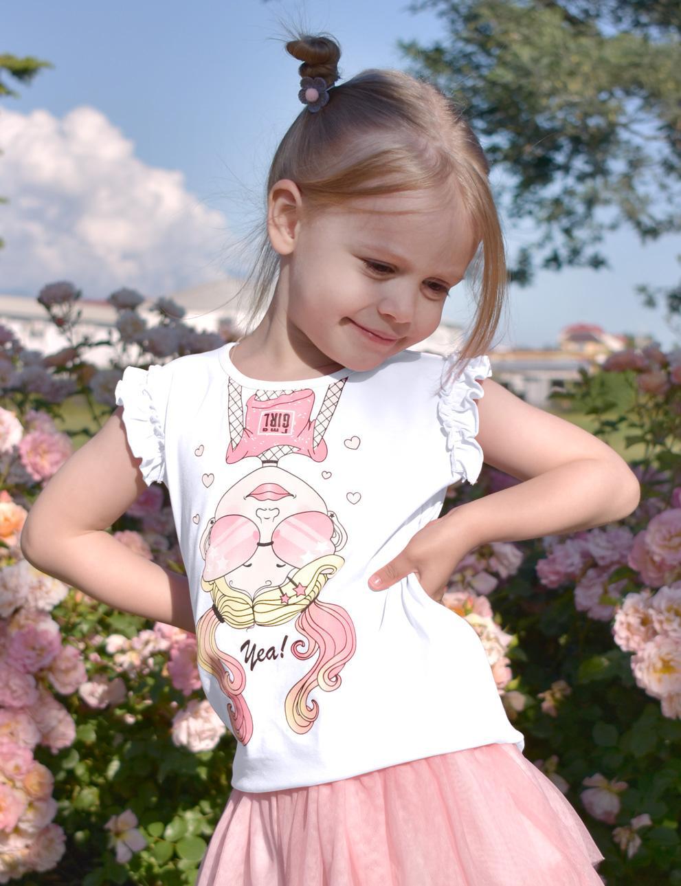 Майка для девочки KETMIN Вверх тормашками цв.Белый