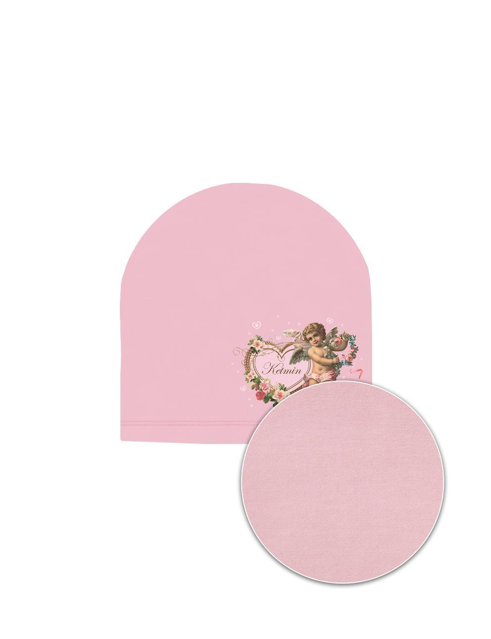 Шапка детская трикотажная KETMIN тк.Кулирка цв.Розовый с принтом Ангел
