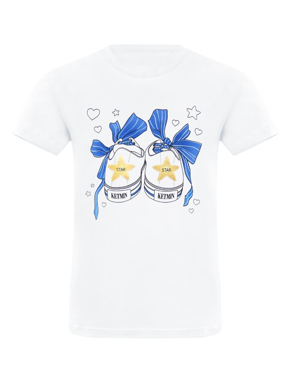 Детская футболка для девочки KETMIN Кеды цв.Белый/синий